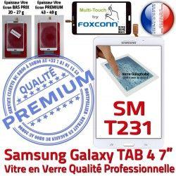 7 Prémonté Galaxy PREMIUM Assemblée Supérieure SM-T231 SM Samsung LCD inch 4 Qualité Adhésif TAB4 Blanche Ecran Verre T231 Tactile B Vitre TAB