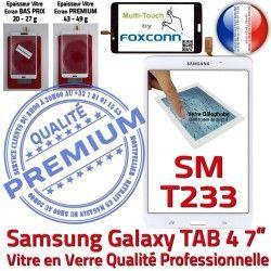 Samsung Verre TAB4 T233 Blanche SM-T233 4 B TAB LCD SM PREMIUM Supérieure Ecran 7 Prémonté inch Qualité Tactile Galaxy Assemblée Adhésif Vitre