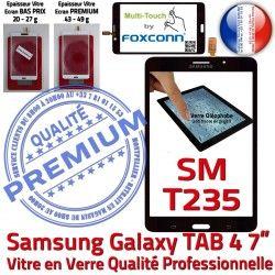 TAB4 Verre Prémonté Assemblée Samsung Ecran SM-T235 Tactile 7 Galaxy Supérieure PREMIUM inch Qualité Vitre Noire LCD N Adhésif